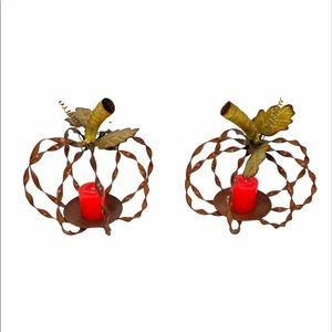 Pumpkin Candle Holders, Brown, Yellow, 2 Pieces